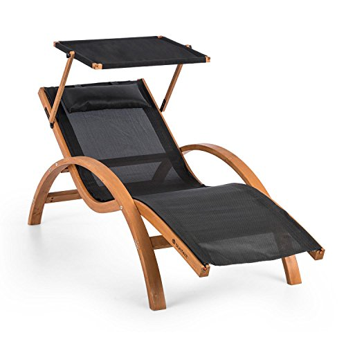 Blumfeldt Acapulco • Gartenliege • Liegestuhl • Sonnenliege mit Dach • Sonnendach • ComfortMesh • Kiefernholz • ergonomisch • 150kg max. • wetterfest • drinnen und draußen • inkl. Kopfkissen • schwarz