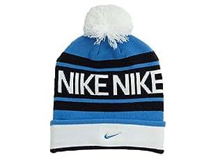 Nike 546113 Beanie Pom Bonnet en tricot à pompon Bleu/bleu foncé/blanc Taille unique