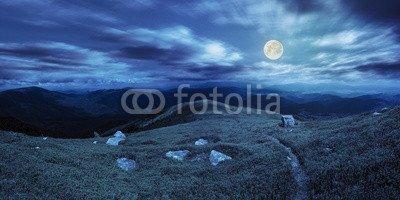 alu-dibond-bild-120-x-60-cm-path-among-stones-on-mountain-top-at-night-bild-auf-alu-dibond