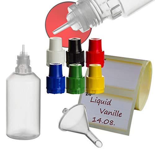 ZigoN 12 x 50ml LDPE Liquid-Flaschen + Trichter + Etiketten in Markenqualität Deckel-Farbe 5: GEMISCHT -
