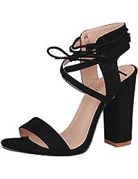 4b81d92867 Kootk Schuhe Damen High Heels Blockabsatz Sandalen Lace-Up Offene Pumps  Elegante Riemchensandalen Absatzschuhe Hoch Absatz…