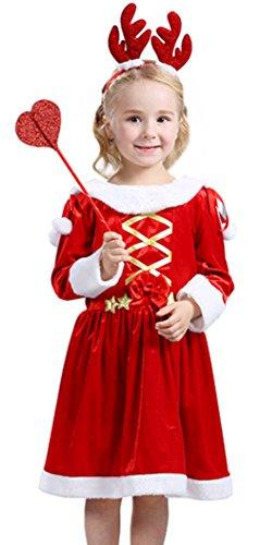 EOZY Déguissement Noël Mère Enfant Fille/Garçon Rouge Robe Mignon Hiver Size2
