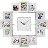 VonHaus Brushed Aluminium Photo Frame Clock - Holds 12 Photos & Includes Free 2 Year Warranty