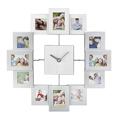 fotorahmen uhr VonHaus Fotorahmen Bilderrahmenuhr Uhr Aluminium Silber Für 12 Fotos
