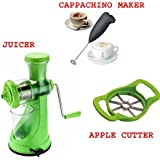 Exciting Dealz Fruit Vegetable Juicer + Apple Cutter + Electric Handle Coffee, Milk, Egg Beater