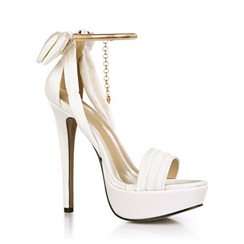 Best 4U Frauen Sommer Sandalen Faux Silk Basic Pumps Peep Toe Bogen Anhänger Kette 14 CM High Heels 3 CM Plattform Gummisohle Hochzeit Schuhe , Weiß , EU38