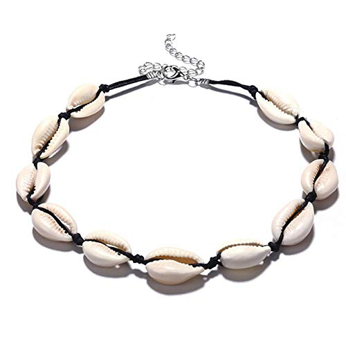 Treestar conchiglia donna collana estate boemia shell stringa pendant necklace per catene da spiaggia beach per ragazza outdoor spiaggia viaggio vacanza,nero