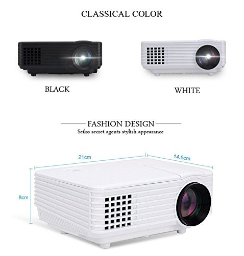 BEN Full HD LED 2000 Lumens Projector HDMI USB VGA AV. Theater Quality (White)
