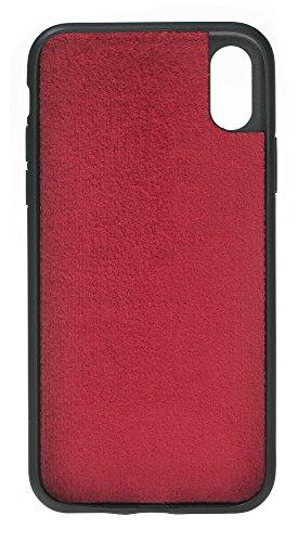 Solo Pelle Iphone X abnehmbare Lederhülle (2in1) inkl. Kartenfächer für das original Iphone X in Schwarz Krokoprägung Rot