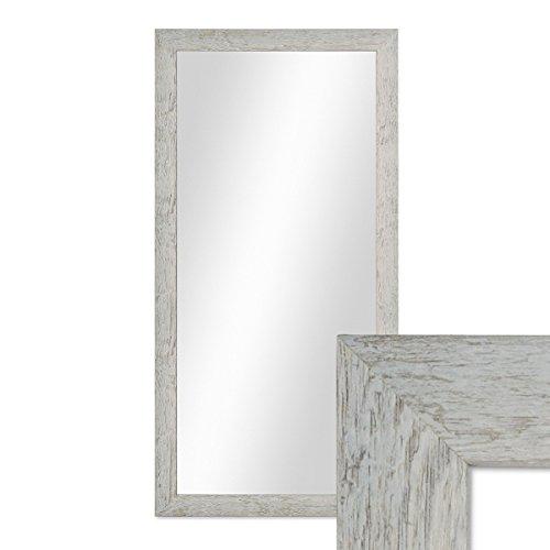 PHOTOLINI Wand-Spiegel 36x66 cm im Massivholz-Rahmen Strandhaus-Stil Rustikal Grau/Spiegelfläche 30x60 cm (36 X 36 Spiegel)