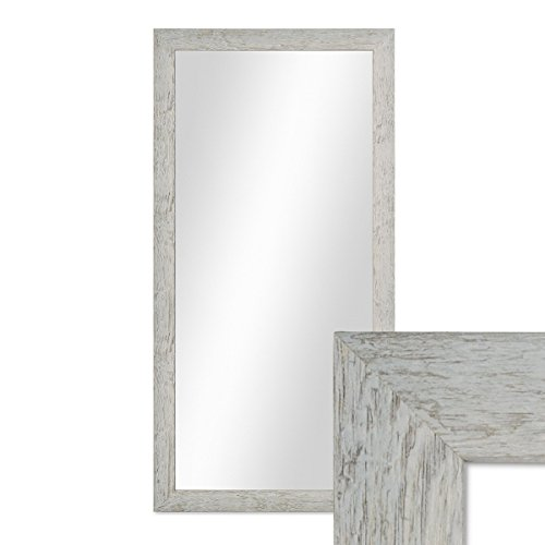 PHOTOLINI Wand-Spiegel 36x66 cm im Massivholz-Rahmen Strandhaus-Stil Rustikal Grau/Spiegelfläche 30x60 cm