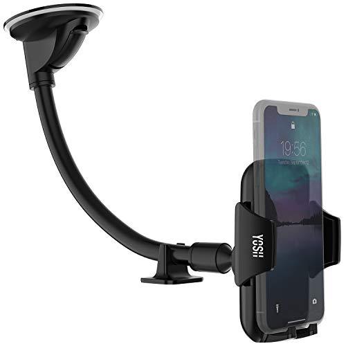 YOSH Soporte Móvil Coche para Parabrisas, Soporte Universal con Brazo Ajustable para iPhone X 8 7 6s Samsung J5 J3 J7 S7 S8 A5 Huawei P10 P20 Lite Xiaomi Mi A2 Redmi Note 4 etc. o Dispositivos GPS