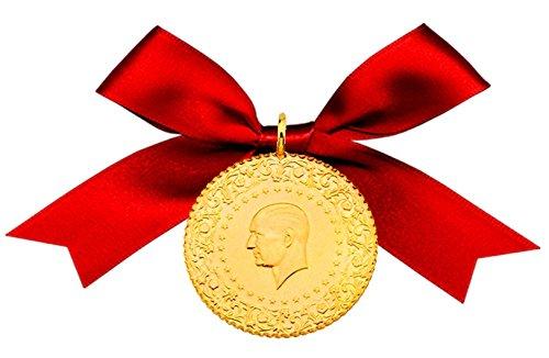 Türkische Goldmünze Original Öse,Roter Schleife und Geschenkbeutel (Tam Altin (7,00 Gramm))