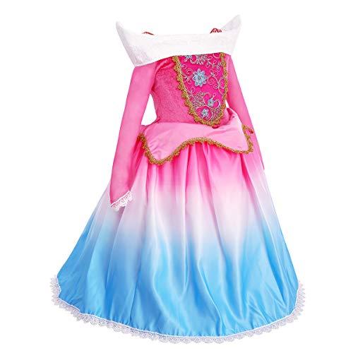 Disney Prinzessin Aurora Kostüm - OBEEII Dornröschen Aurora Kostüm Kinder Sleeping Beauty Prinzessin Kleid Mädchen Grimms Märchen Verkleidung Faschingskostüm Karneval Cosplay Party Halloween Festkleid 4-5 Jahre