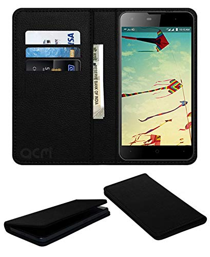 Acm Rich Leather Flip Wallet Front & Back Case for Lyf Wind 1 Mobile Flap Magnetic Cover Black