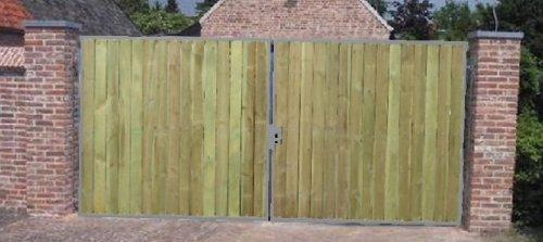 Hochwertiges 2-flügeliges Holztor / Rahmen Silber beschichtet / Einbau-Höhe: 180 cm / Einbau-Breite: 600 cm / Gartentor Doppeltor