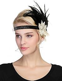 af71c8fa76c31a AMUSTER Flapper Stirnband mit Feder Damen Haarband Retro 20er Art Deco  Tanzball Kopfschmuck 3D-Drucker
