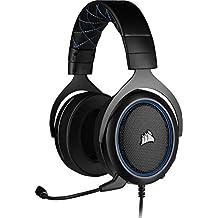 Corsair HS50 Pro Stereo Auriculares para Juegos (Ajustables Espuma viscoelástica Almohadillas, Ancelación del Ruido extraíble micrófono, Compatible con PC, PS4, Xbox One, Switch y móviles), Azul