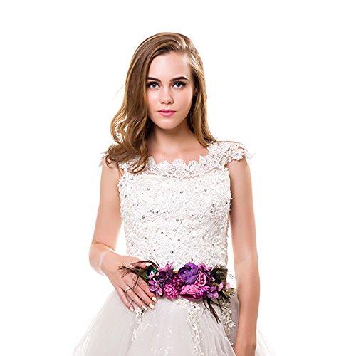 Ever Fairy moda flor cinturones para mujer niña dama de honor vestido de satén cinturón boda fajas cinturón de la pluma tela elástica cinturón accesorios (A)
