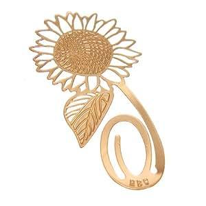 Marque-page signet tournesol sunflower livre de lecture en métal doré