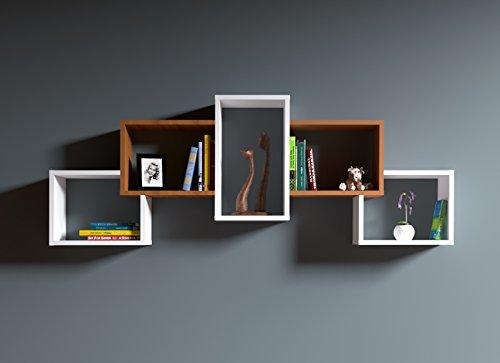 BOLD Étagère murale - étagère à livres pour décoration de salon en bois dans un design moderne … (Blanc / Noyer)