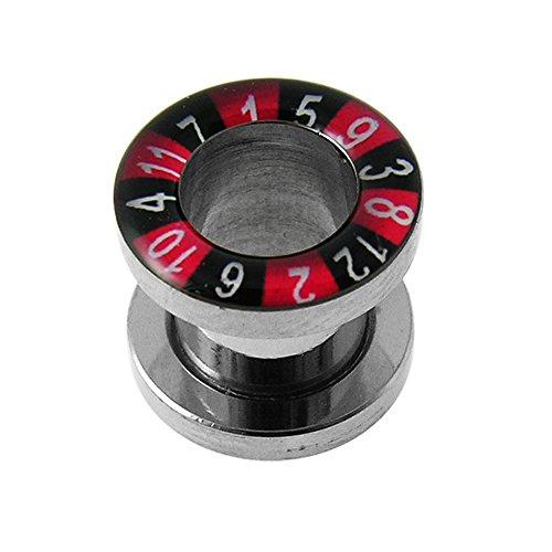 8MM Roulette Rad Inlay 316L chirurgischer Stahl Gauge Fleisch Tunnel Ohrenpiercing (8 Räder Stahl)