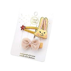 @Y.T Besticktes langohriges Kaninchen BB-Clip Kinder-Stoffhaarclip 2-teiliges Tiara-Haarschmuck