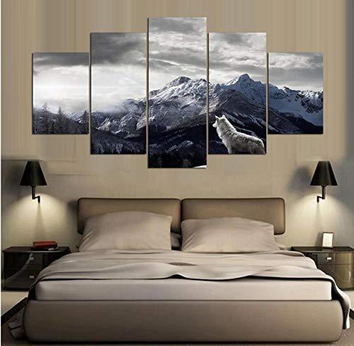 wmyzfs Leinwand HD Drucke Gemälde Wandkunst 5 Stücke Der Wolf Auf Dem Gipfel Poster Wohnzimmer Dekor Tier Modulare Bilder Rahmenlose -