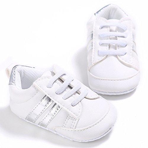 Nicholco, Scarpe primi passi bambini White + Silver Edge 6-12M White + Silver Edge