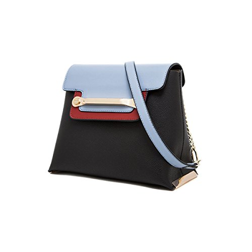 Donna Pelle Ha Colpito A Colori Di Grande Capacità Singola Spalla Crossbody Bag. Black