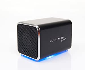 Music Angel Friendz Universal Portable Stereo Rechargeable Speaker for iPhone/iPad/iPod/MP3 Players/PC/MAC - Black