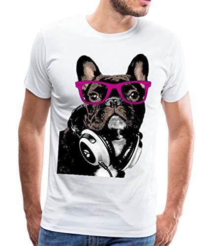 Bouledogue Français Hipster Frenchie T-Shirt Premium Homme, XXL, Blanc