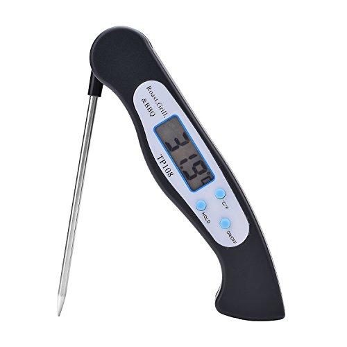 TieNew Digitales Fleisch Thermometer, bbq thermometer grill für küchen,die besten Sofort lesen Küchenthermometer mit langer Sonde für Fleisch Kochen Essen BBQ Küche Grill Wasser Süßigkeiten Zucker