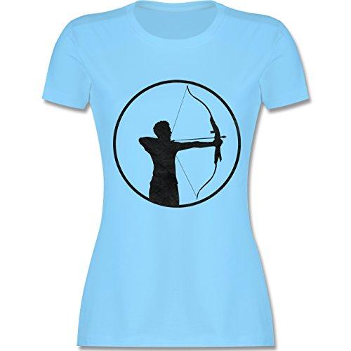 Sonstige Sportarten - Bogenschütze - tailliertes Premium T-Shirt mit Rundhalsausschnitt für Damen Hellblau