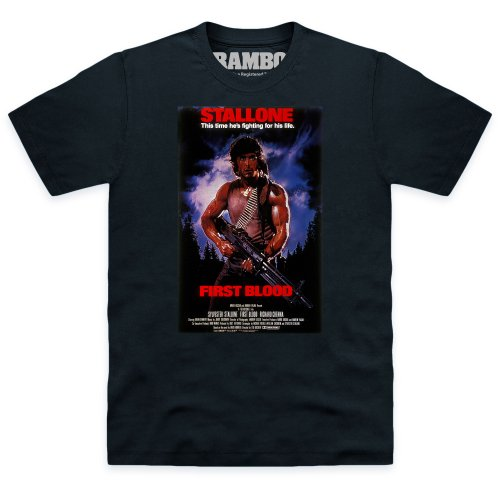 Official Rambo First Blood Poster T Shirt, Male, Black, 5XL