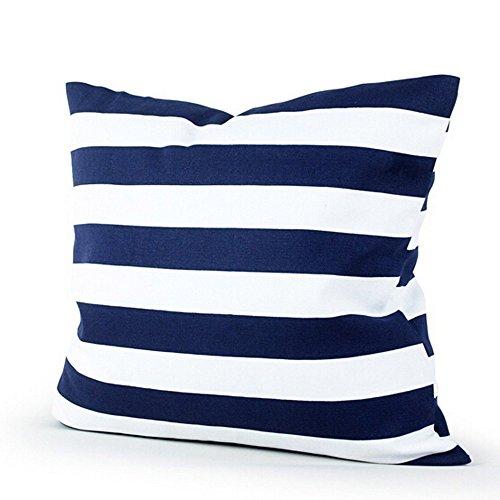 Hmeng Kissenhülle Deko Streifen Sofa Zierkissenbezug Bettwaren Bettwäsche Kopfkissen Gestreift Quadratisch Kissen 45 x 45 cm (Blau) -