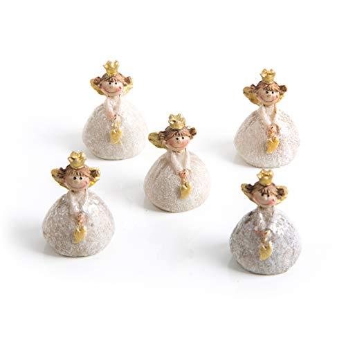 5 mini angioletti in oro bianco con cuore e corona, 3 cm, angelo custode, portafortuna, decorazione natalizia, decorazione da tavolo, natale, bomboniera, comunione, matrimonio, principessa