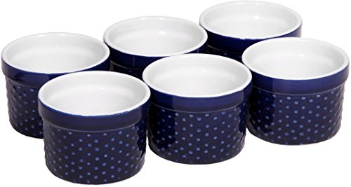 Palais Auflaufförmchen aus Porzellan, Soufle Dishes 4 Oz - Set of 6 Indigo Blue - Dots Finish Butter Dish Set