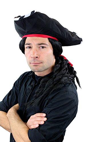 Wig me up Karneval Fasching Pirat Set: Hut, Bart & lange schwarze Perücke geflochtene Zöpfe Dreadlocks 68903-103