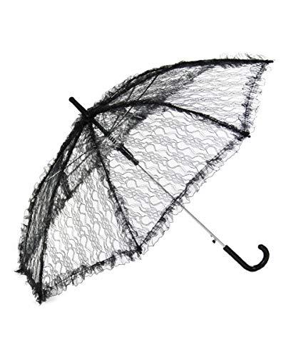 Horror-Shop Schwarzer Schirm mit Spitze für Fasching & Halloween