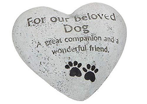 Gedenkstein Grabstein für den geliebten, unvergesslichen HUND in Form eines Herzens - für den Garten geeignet