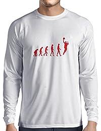 lepni.me Camiseta de Manga Larga Para Hombre Evolución de Baloncesto - Canasta de La