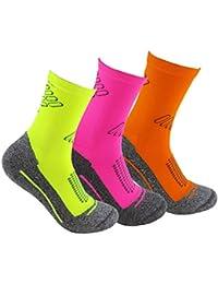 Calcetines deportivos (3 pares) SIN COSTURAS de alto rendimiento para hombre o mujer. Ideales para deportes como running, crossfit, ciclismo, pádel, trekking; Cómodos y resistentes.