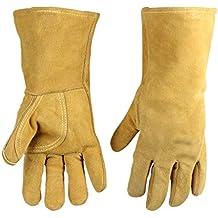 AINIYF Guantes de soldadura Teshu guantes de soldadura blandos aislamiento de alta temperatura espesamiento de cuero