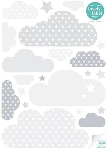 lovely label Wandsticker selbstklebend WOLKEN GRAU/WEISS - Wandaufkleber Kinderzimmer / Babyzimmer mit Wolken und Sternen in versch. Farben -...