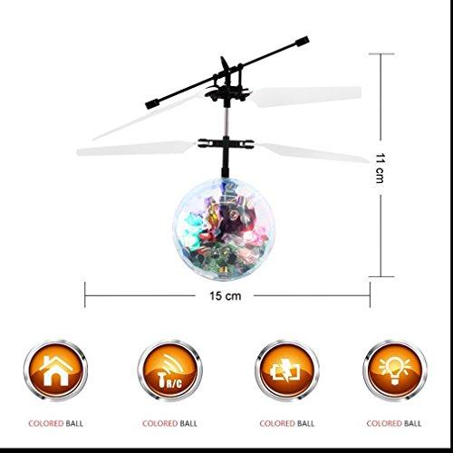 POAO RC Fliegender Ball,Mini Flugzeug-Hubschruber,Infrarot Induktionshubschrauber Ball Spielzeug (Disco Lichter) - 3