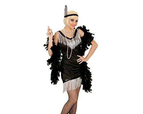 Widmann 03054 - Erwachsenenkostüm Charleston, Kleid, Kopfband mit Feder, schwarz, Größe XL