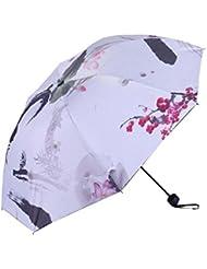 Peinture chinoise Femme Parapluie Noir Protection UV Sun Umbrella