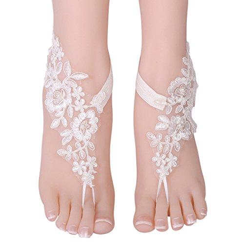 Sandali a piedi nudi, zoylink 1 paio di catene da sposa e da sposa, in pizzo, per matrimonio