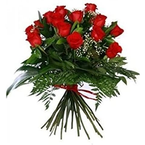 Ramo de 12 rosas Rojas frescas y cava brut naturé Juve&Camps 70cc + Regalo tarjeta texto